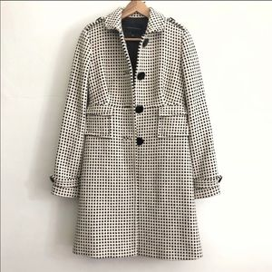 Banana Republic Black & White Long Wool Peacoat-S